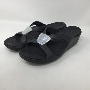 Crocs Black Slip On Sandals 10 Silver Buckle